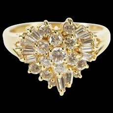14K 0.50 Ctw Diamond Encrusted Cluster Heart Ring Size 6 Yellow Gold [QRXS]