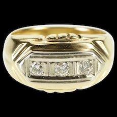 10K 0.18 Ctw Diamond Inset Three Stone Ornate Band Ring Size 6 Yellow Gold [QRXS]