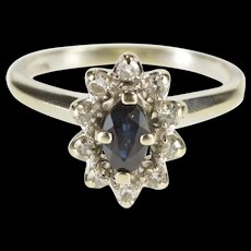 14K 0.35 Ctw Marquise Sapphire Diamond Halo Ring Size 5 White Gold [QRXS]