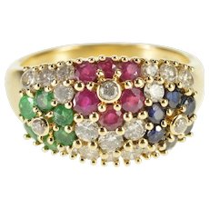 14K 1.02 Ctw Diamond Emerald Ruby Sapphire Floral Ring Size 7 Yellow Gold [QWXK]