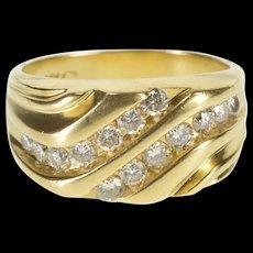 14K 0.84 Ctw Channel Diamond Wavy Statement Ring Size 8.75 Yellow Gold [QRXS]