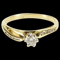 14K 0.28 Ctw Wavy Diamond Inset Engagement Ring Size 6 Yellow Gold [QRXS]
