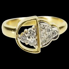 18K 0.12 Ctw Diamond Cluster Statement Abstract Ring Size 4.25 Yellow Gold [QRXS]