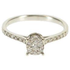 14K 0.20 Ctw Diamond Round Cluster Engagement Ring Size 6.5 White Gold [QWXK]