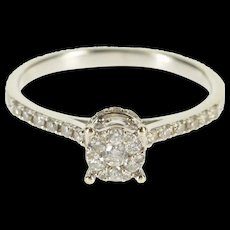 14K 0.20 Ctw Diamond Round Cluster Engagement Ring Size 6.5 White Gold [QRXS]