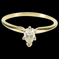 14K 0.46 Ct Pear Cut Diamond Solitaire Engagement Ring Size 8.25 Yellow Gold [QRXS]