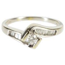 14K 0.53 Ctw Diamond Pressure Freeform Engagement Ring Size 8.5 White Gold [QWXK]