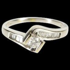 14K 0.53 Ctw Diamond Pressure Freeform Engagement Ring Size 8.5 White Gold [QRXS]
