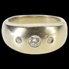 10K 0.37 Ctw Diamond Flush Inset Rounded Band Ring Size 5.5 White Gold [QRXS]