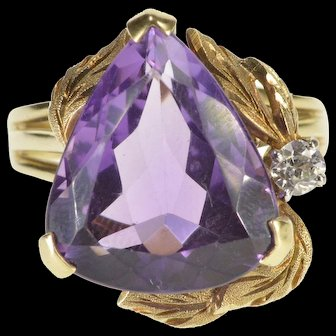 14K 6.12 Ctw Amethyst Diamond Accent Leaf Detail Ring Size 7.75 Yellow Gold [QWXK]