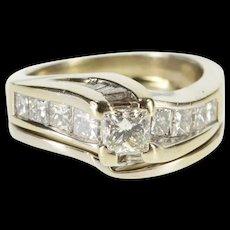 14K 1.5 Ctw Princess Cut Diamond Wavy Bridal Engagement Ring Size 6 White Gold [QRXS]