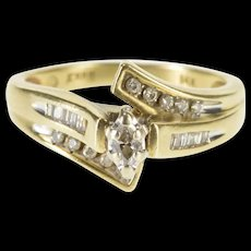14K 0.54 Ctw Marquise Diamond Channel Engagement Ring Size 5.75 Yellow Gold [QRXS]