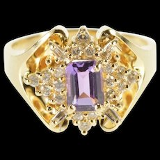 14K 1.26 Ctw Amethyst Diamond Halo Cocktail Ring Size 8.75 Yellow Gold [QRXS]
