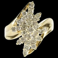 10K 1.62 Ctw Diamond Wavy Cluster Statement Ring Size 11 Yellow Gold [QRXS]