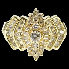 14K 0.94 Ctw Ornate Diamond Cluster Encrusted Ring Size 7.25 Yellow Gold [QRXS]