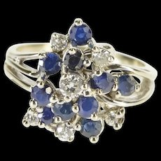 10K 1.45 Ctw Diamond Sapphire Cluster Cocktail Ring Size 8.5 White Gold [QRXS]