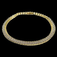 "14K 1.00 Ctw Rounded Link Diamond Inset Tennis Bracelet 7.25"" Yellow Gold [QRXS]"