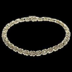"14K 1.00 Ctw Diamond XO Hugs Kisses Link Tennis Bracelet 7.25"" White Gold [QRXS]"