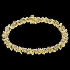 "14K 0.50 Ctw Diamond Inset X Link Fancy Tennis Bracelet 6.5"" Yellow Gold [QRXS]"