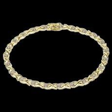 "10K 0.50 Ctw Diamond Wavy X Link Fancy Tennis Bracelet 7.25"" Yellow Gold [QRXS]"