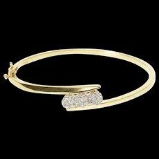"14K 1.00 Ctw Floral Diamond Cluster Bangle Bracelet 6.75"" Yellow Gold [QRXS]"