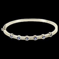"14K 1.36 Ctw Sapphire Diamond Channel Inset Bangle Bracelet 7"" White Gold [QRXS]"