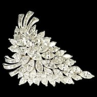 14K 13.35 Ctw Van Clief Marquise Diamond Cluster Pendant/Pin White Gold [QRXS]