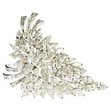 14K 13.35 Ctw Van Clief Marquise Diamond Cluster Pendant/Pin White Gold [QRXS]