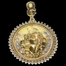 14K 1.32 Ctw Diamond Repousse Inspired Half Dollar Pendant Yellow Gold [QRXS]