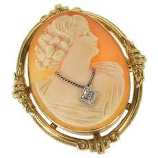 10K Victorian Carved Shell Cameo Diamond Necklace Pendant/Pin Yellow Gold  [QRXC]