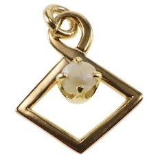 10K Pearl Prong Inset Kite Twist Pendant Yellow Gold [QRXS]