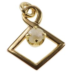 10K Pearl Prong Inset Kite Twist Pendant Yellow Gold  [QRXC]