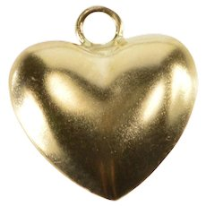 14K Puffy Rounded Simple Heart Love Symbol Charm/Pendant Yellow Gold  [QWXK]