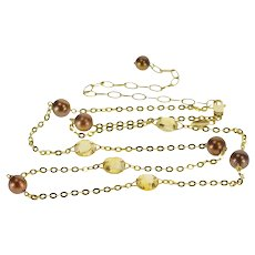 """14K Citrine Brown Pearl Pressed Cable Link Chain Necklace 24"""" Yellow Gold  [QRXC]"""