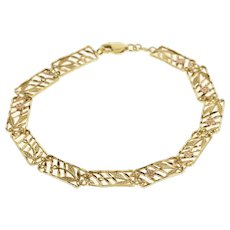 "14K Striped Rectangular Rose Flower Design Bracelet 7.5"" Yellow Gold  [QWXK]"