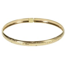 "10K Satin Finish Diamond Cut Grooved Pattern Bangle Bracelet 8"" Yellow Gold  [QWXK]"