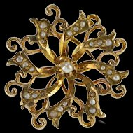 10K Ornate Seed Pearl Encrusted Swirl Spiral Pin/Brooch Yellow Gold [QRXS]