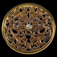 14K Elaborate Scroll Design Round Diamond Inset Pin/Brooch Yellow Gold [QRXS]
