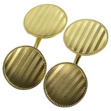 14K Art Deco Pinstripe Round Grooved Trim Cuff Links Yellow Gold  [QRXC]