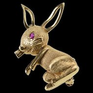 14K Ruby Inset Stylized 3D Bunny Rabbit Pin/Brooch Yellow Gold [QRXS]