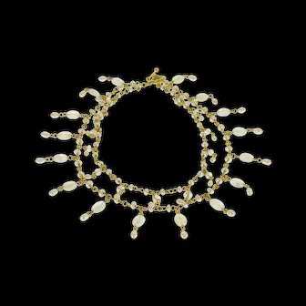 """14K Ornate Moonstone Pearl Tiered Fringe Choker Necklace 15.3"""" Yellow Gold  [QWXK]"""