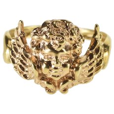 14K Two Tone Cherub Angel Baby Design Ring Size 7.75 Rose Gold [QWXK]