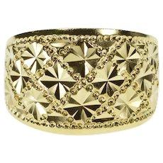 14K Burst Pattern Lattice Design Statement Band Ring Size 8 Yellow Gold [QRXC]