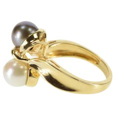 14K Two Tone White Tahitian Pearl Wavy Freeform Ring Size 6 Yellow Gold [QRXC]