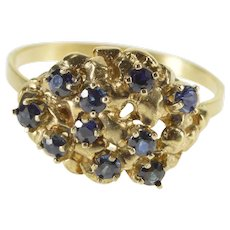 14K Sapphire Textured Nugget Cluster Cocktail Ring Size 5.5 Yellow Gold [QWXK]