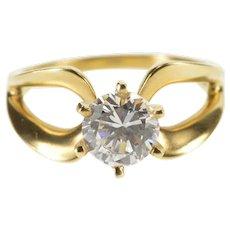 14K Round Prong Set Loop Design Travel Engagement Ring Size 7 Yellow Gold [QWXK]
