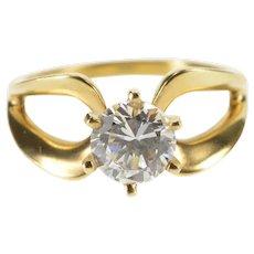 14K Round Prong Set Loop Design Travel Engagement Ring Size 7 Yellow Gold [QRXS]