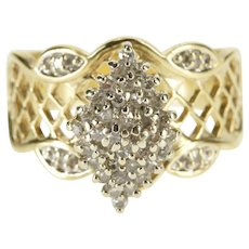 10K Pointed Diamond Cluster Wavy Lattice Statement Ring Size 6 Yellow Gold [QRXC]
