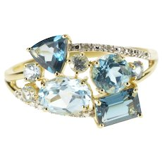 10K Blue Topaz Diamond Accent Statement Ring Size 12 Yellow Gold [QRXC]