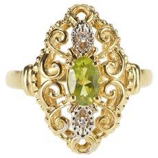 10K Oval Peridot Diamond Accent Swirl Statement Ring Size 6 Yellow Gold [QRXC]